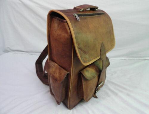 "New 16/""  Genuine Leather Back Pack Rucksack Travel Bag For Men/'s and Women/'s"