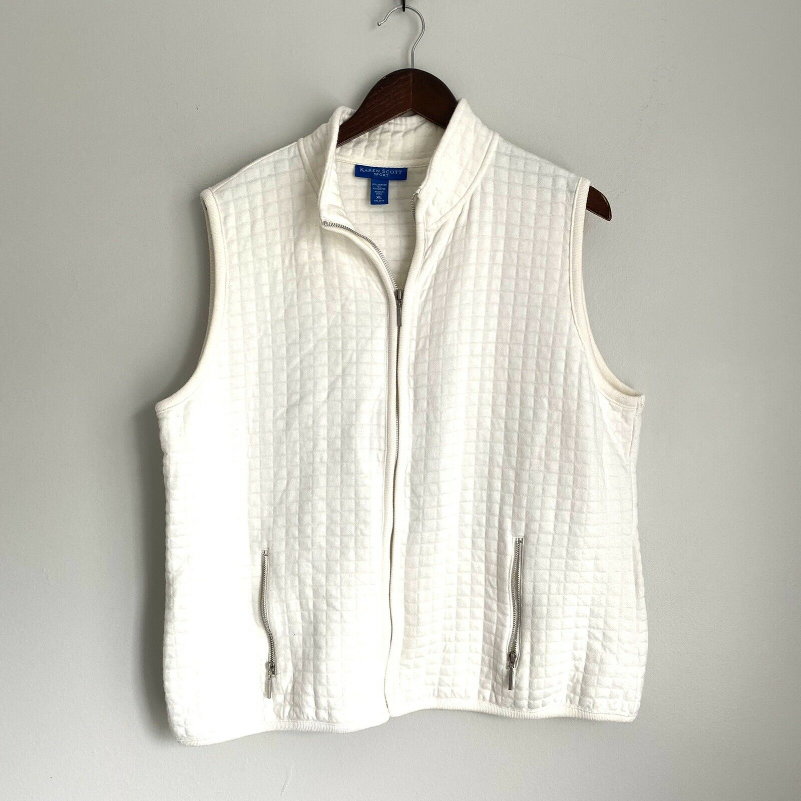 KAREN SCOTT Womens XL Ivory Cream Quilted Sleeveless Full Zip Vest DD6