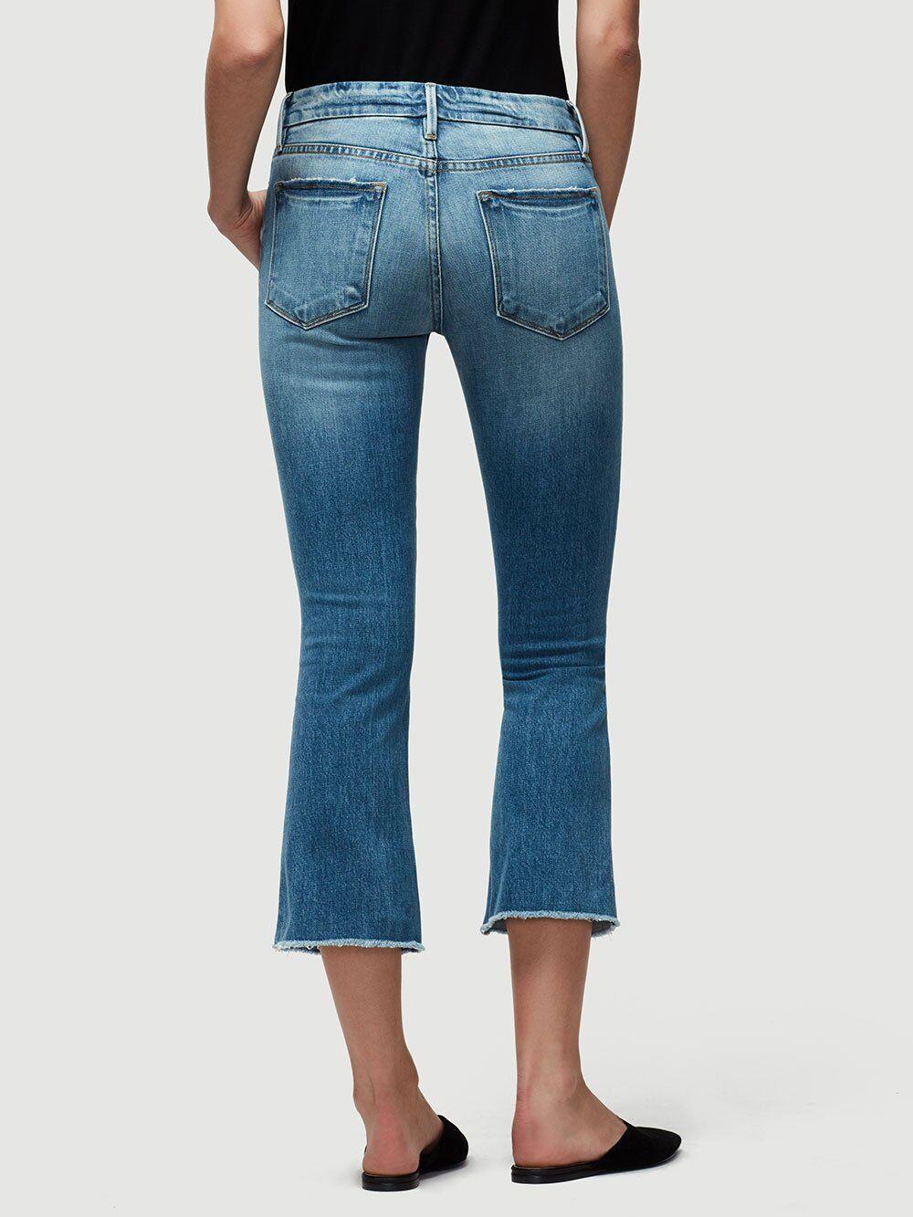 Frame Denim Femme Le Cropped Mini démarrage Cut Jeans Oppen Raw Edge Ourlet Taille 24