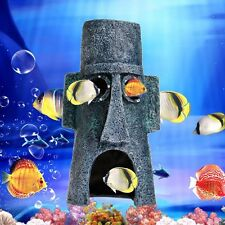 Moai Shape House Fish Tank Aquarium Landscaping Underwater Ornament Decor