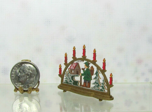 Dollhouse Miniature Med Christmas Hunter in Woods Arch Display Silvia Leiner