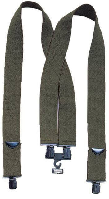 "Pants Suspenders OD Green Pants Suspenders Elastic With Metal Clips 2"" Wide 4199"