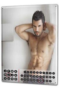 Dauer-Wand-Kalender-Pin-Up-Erotik-Waschbrettbauch-Metall-Magnet