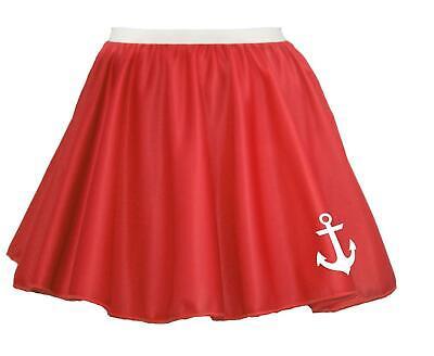 """15"""" Donna Rosso Naval Stampato Anchor Sailor Costume Skater Gonna-mostra Il Titolo Originale Valore Eccezionale"""