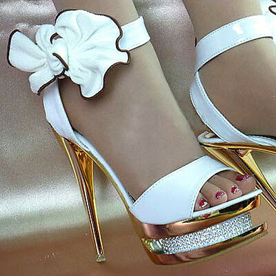 Royal Beautiful Gorgeous Ankle Bows Diamonds Wedding Banquet High Heels