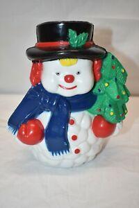 Vintage-50s-60s-Hard-Plastic-Light-Up-7-1-2-034-Snowman-NOMA