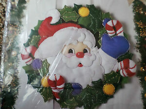 Bucilla christmas felt applique holiday kit jolly santa wreath wall