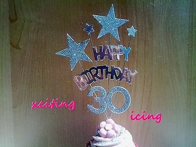 Silver Star Birthday CUPCAKE Decoration Topper - Any Age - 13 cm tall  Gift Idea