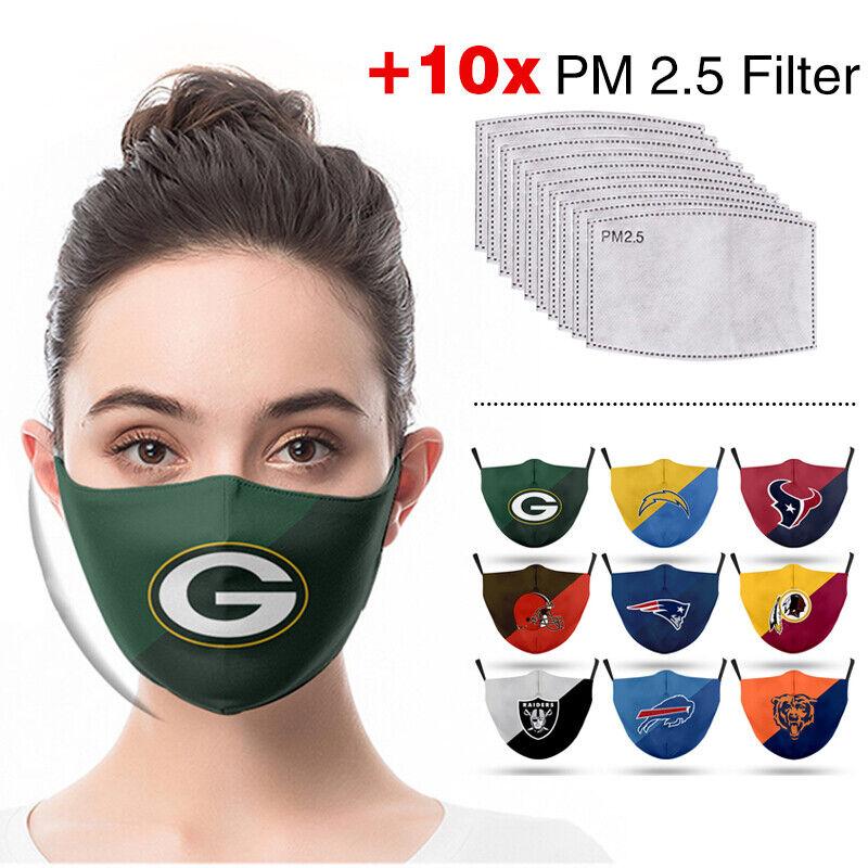 3D American Football Baumwolle Mund Maske Masken+10 Stück Maskenfilter