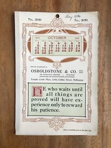 ANTIQUE-OCTOBER-1916-CALENDAR-OSBOLDSTONE-amp-CO-MELBOURNE-PRINTER-ART-NOUVEAU