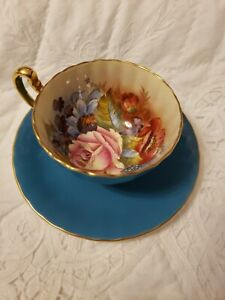 Aynsley Bone China Teacup & Saucer Cabbage Rose Turquoise Signed J.A. Bailey