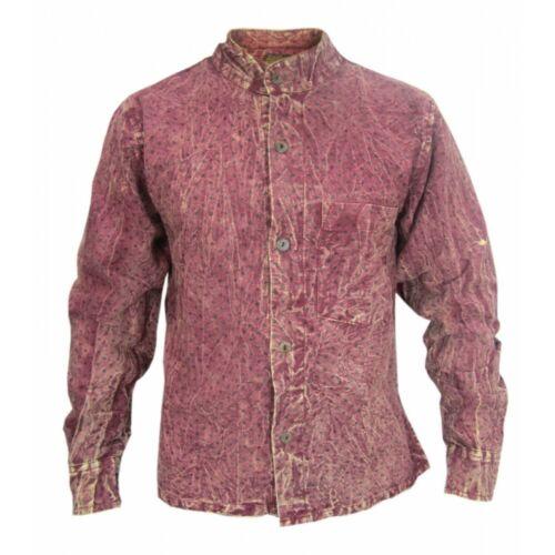Casual shirts Grandad Stonewashed Estate A Pois Manica COMPLETO COTONE CANAPA