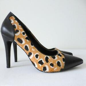 WITTNER-Women-039-s-Shoes-Leopard-Print-Pony-Hair-amp-Black-Leather-High-Heel-Size-41