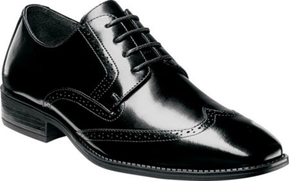 Stacy Adams Men's Adler Slip Resistant Wingtip Oxford Black Leather 20160-001