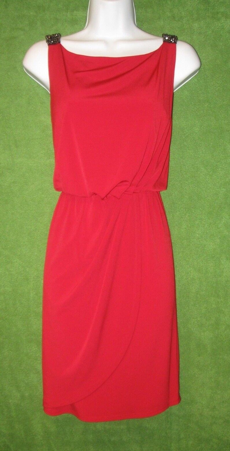 Jessica Simpson Tango rot Jersey Beaded Straps Social Cocktail Dress 8  MISC