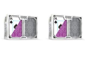 Copag Unique Plastic Playing Cards Poker Size Jumbo Index Purple//Grey 2-Deck