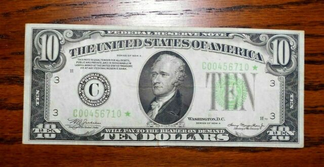 1934-A $10 Federal Reserve Star Note ⭐  VF+