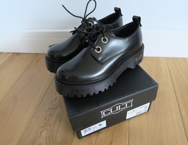 Cult Slash Baja 1702 para mujer Derby Zapatos Negro 5 Reino Unido Gótico Punk doble suela