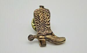 Cowboy Boot Spur Gold tone Vintage Lapel Pin
