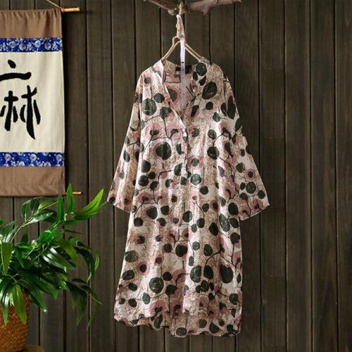 ZANZEA Damen Rundhals Halbarm Bluse Tops Blume Print Lose Lang Retro Hemd Shirts