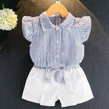 54bf9550929a Infant Toddler Boys Shirt   Striped Shorts 2pc Outfit Summer 1-3y ...