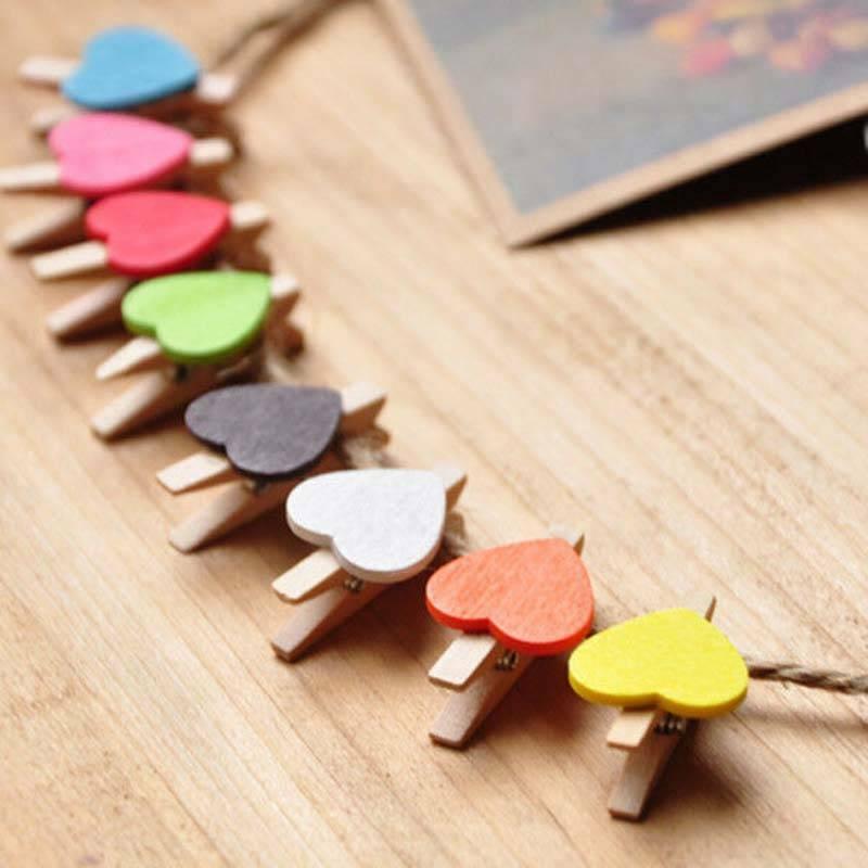 50x Mini Love Heart Wooden Clothespin Photo Paper Peg Pin Craft Clips DIY Decor
