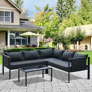 Outsunny 4pcs Patio Lounge Furniture Set Garden Sectional Sofa Set Steel Frame