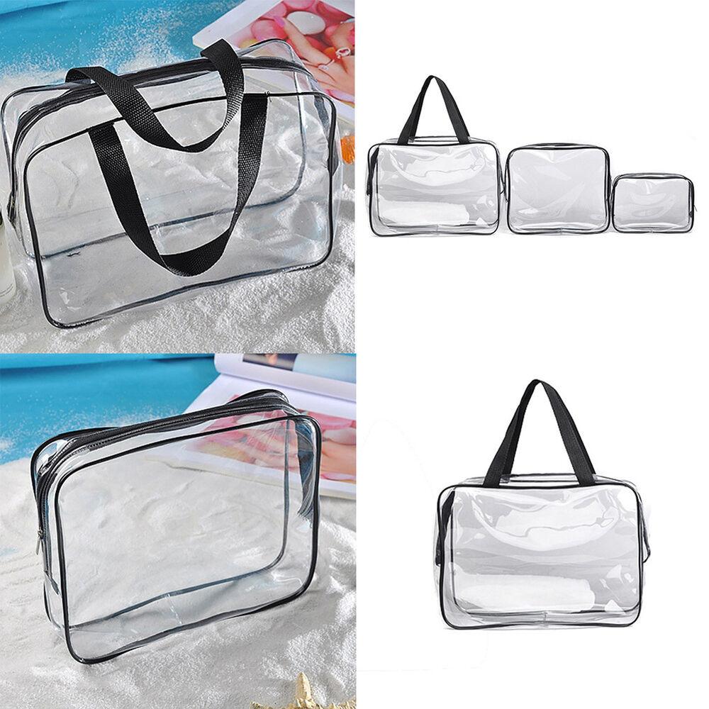 ALS_ Waterproof PVC Zipper Pouch Transparent Cosmetic Wash B