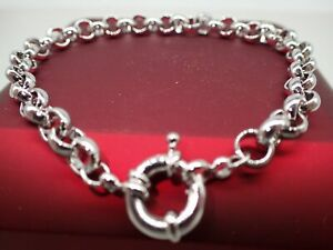 18ct-18K-White-Gold-belcher-bolt-ring-chain-solid-womens-mens-bracelet-9-039-23cm