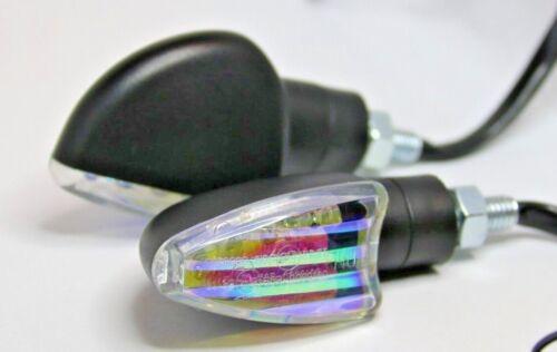 ►2X SUZUKI DR200S,GN400T,GSF600,GSX-R600 LED SPEAR IRIDIUM SCHWARZ BLINKER KURZ