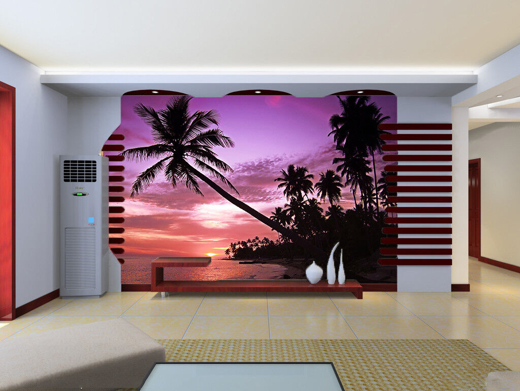 3D Strand Twilight  874 Tapete Wandgemälde Tapete Tapeten Bild Familie DE Summer