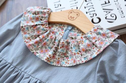 US Stock Toddler Girls Long Sleeve Cotton Pleated Denim Floral Collar Dress