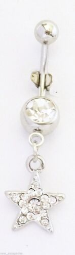 Belly Ring Star Pave Clear Gemmed Dangle Naval Steel Body Jewelry