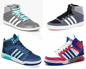 New Womens Adidas High top Casual Mid Basketball Trainer Gym Lace up ... 04b294fb3