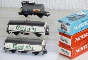 3-Maerklin-Gueterwagen-4645-Total-Eva-2x-4636-Carlsberg-Bierwagen-DSB-OVP-H0