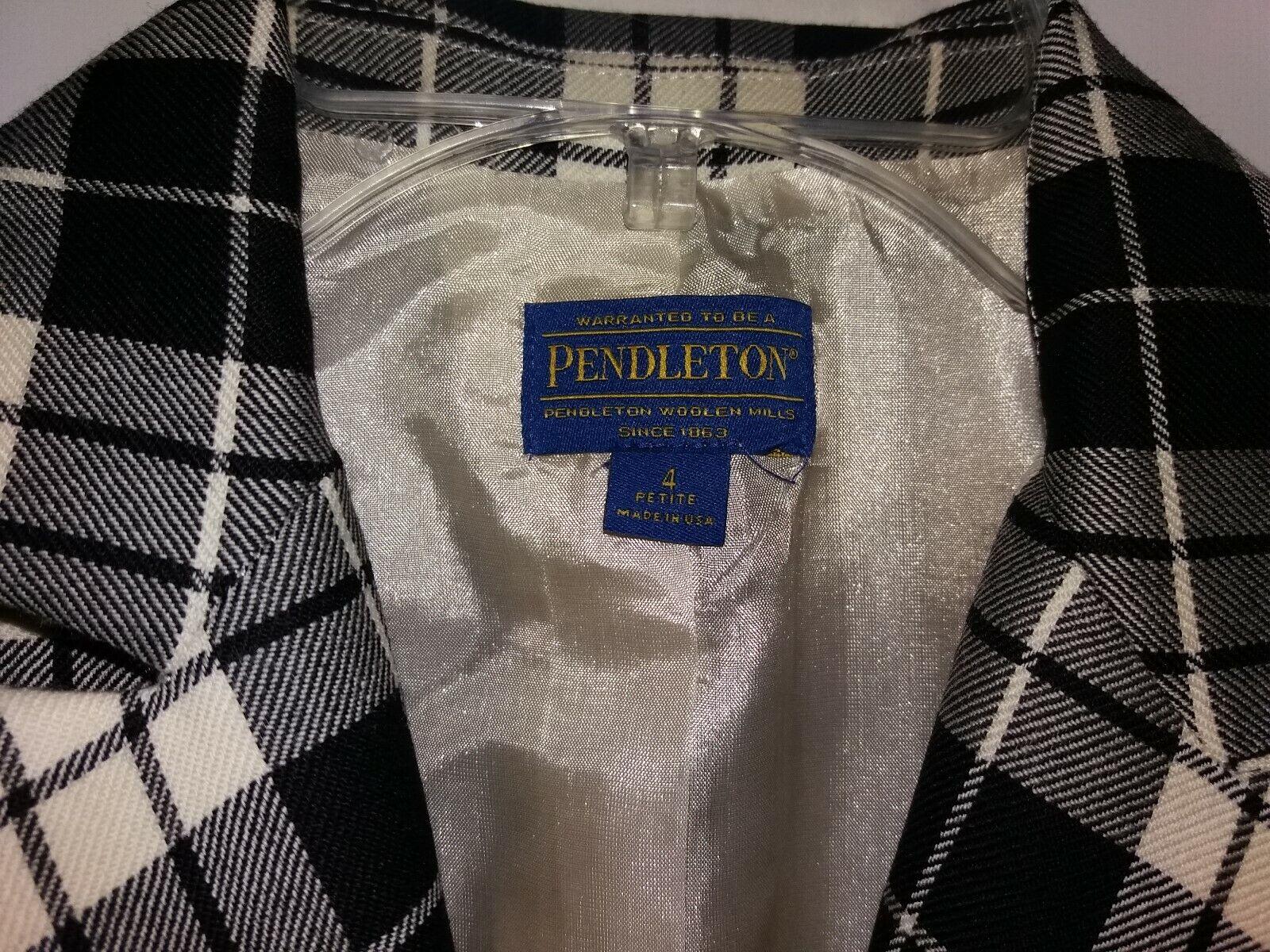 Pendleton Womens 4P Black and White Tartan Plaid … - image 5