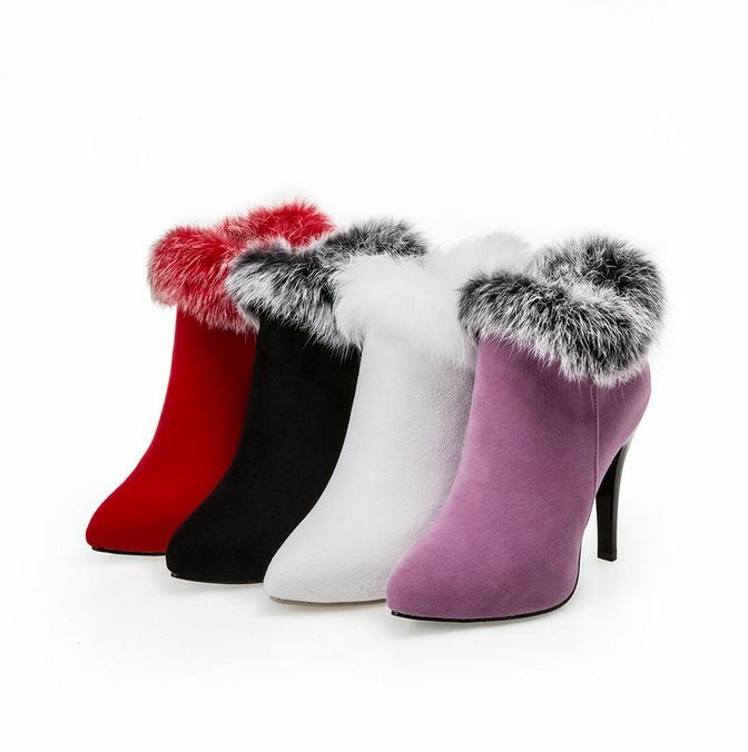 Womens Ankle Boots Korean Faux Fur Stilettos High Heels Pointed Toe shoes Warm