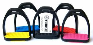 AMIDALE-POLYMER-STIRRUPS-HORSE-RDING-STIRRUPS-BLACK-WITH-COLORED-TREADS-2-SIZES