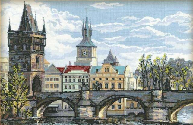 RIOLIS  1058  CHARLES BRIDGE - PRAGUE  COUNTED CROSS STITCH KIT
