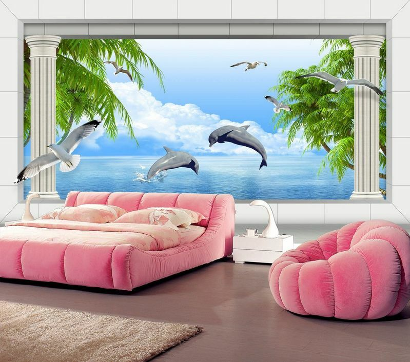 3D Cheerful dolphins, tree 17 Wall Paper Wall Print Decal Wall Deco AJ WALLPAPER