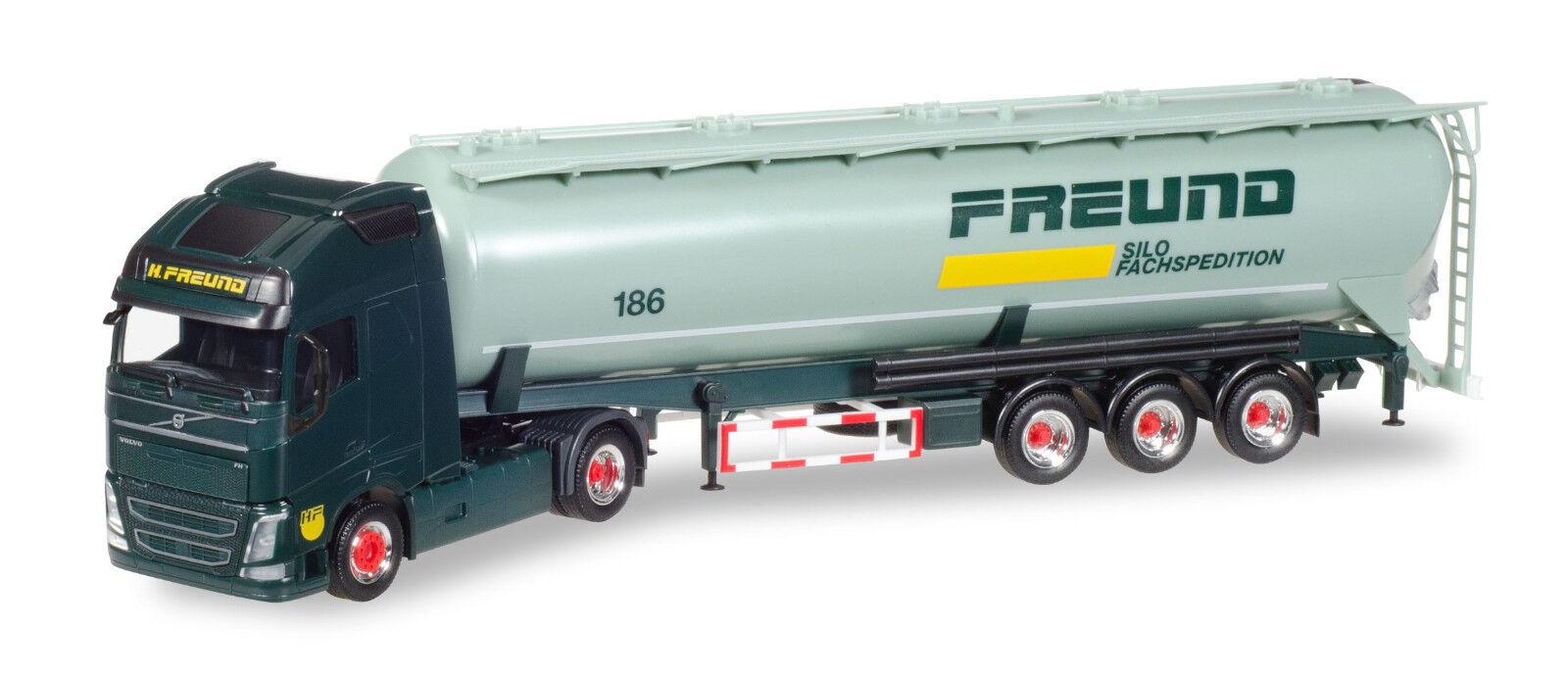 Herpa 308168 Vovo Fh Gl XL Silo Semitrailer   Freund   Ho 1 87 New