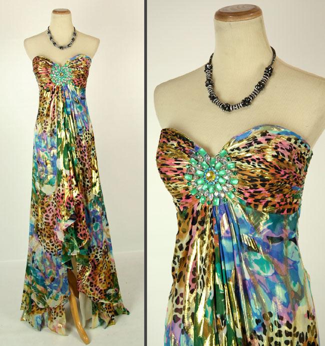 New Jovani 6767 Authentic Beaded Strapless Animal Print Prom Women Party Dress 2