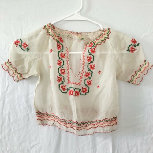 Vintage 1930s Hand Embroidered Hungarian Peasant B