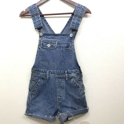 Vntg Silver Jeans Womens Bib Overall's Shorts shor