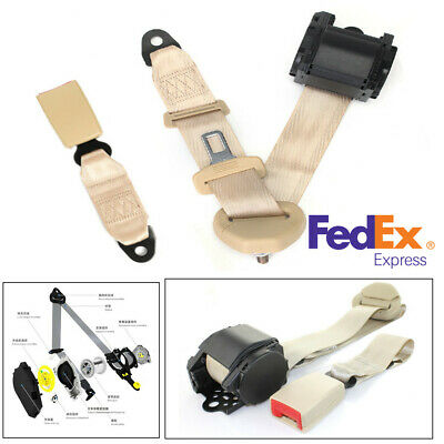 2 Kits Universal Strap Retractable /& Adjustable Safety Seat Belt Beige 3 Point