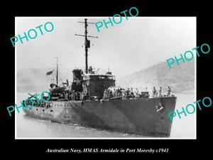 OLD-POSTCARD-SIZE-PHOTO-OF-AUSTRALIAN-NAVY-HMAS-ARMIDALE-AT-PORT-MORESBY-c1941