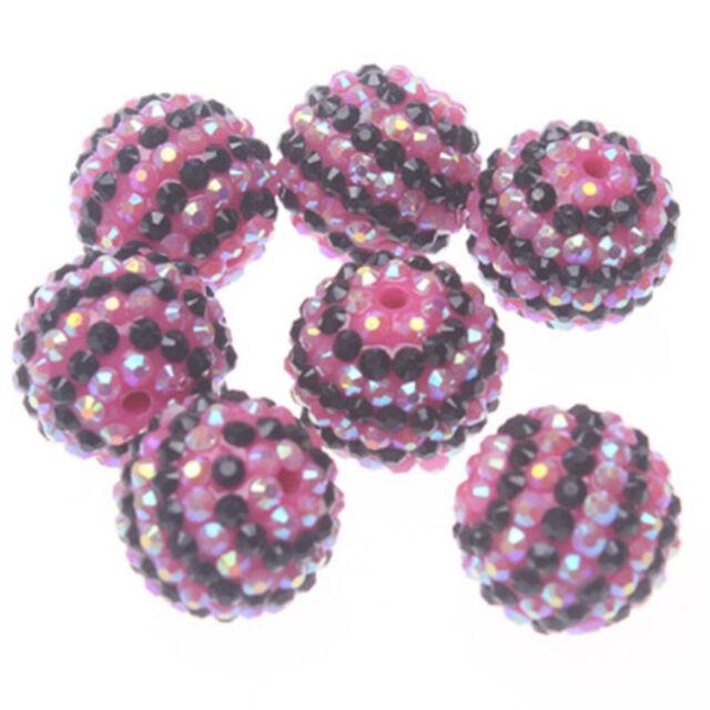 100pcs 22mm Black with Rose AB Striped Resin Rhinestone Ball Bracelet Necklace