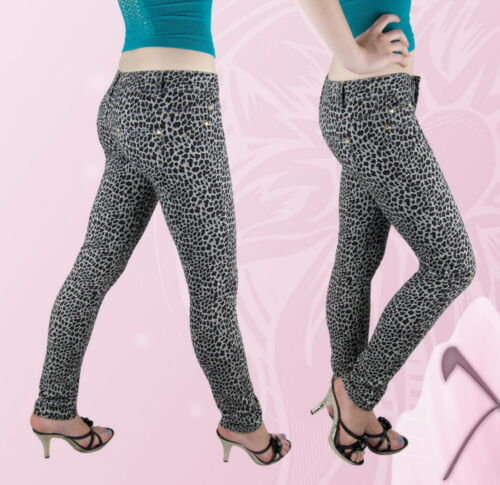 Donna pantaloni tubi pantaloni TUBO hüftig LEOPARDO PATTERN GRIGIO 36 38 40 42 44 NUOVO
