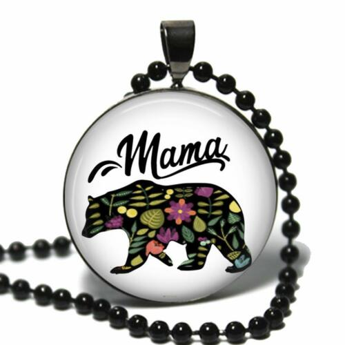 Mama Bear Glass Top Pendant Necklace w// Chain Handcrafted Mom Grandmother Gift