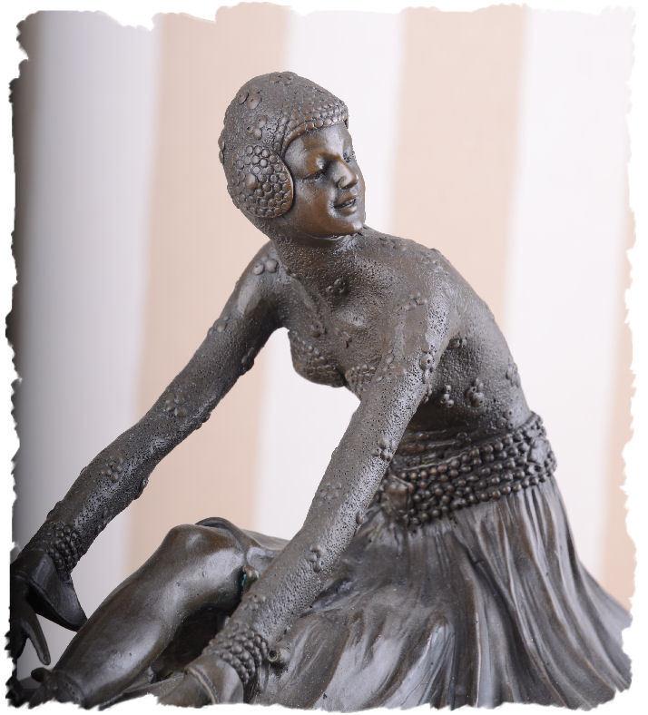 Bronce Antiguo Art Bailarina Decó Escultura Figura Femenina 20 Años de Bailarina Art f70889